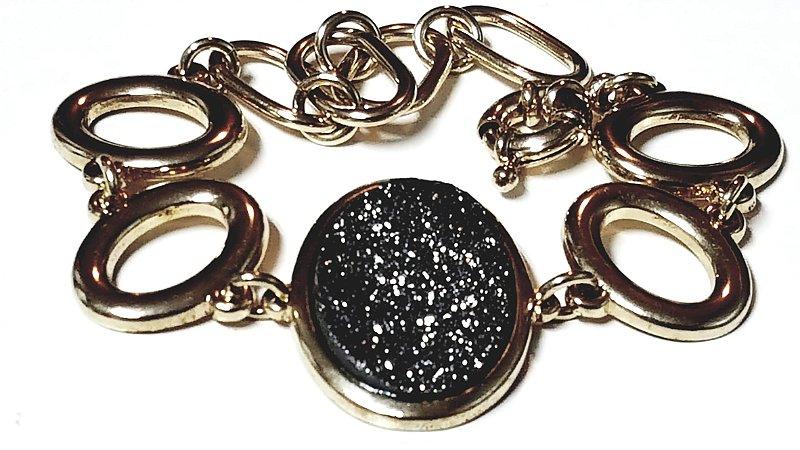 Pulseira Bracelete Quartzo Geodo Drusa Titânio 1 G