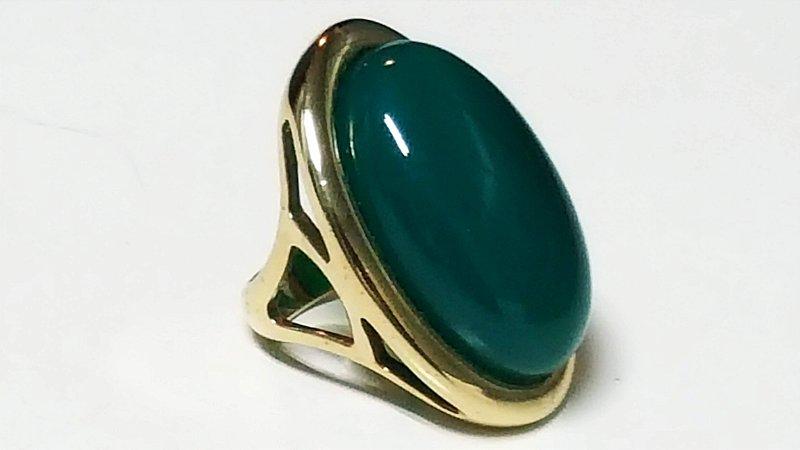 Anel Cristal de Ágata verde Mega Maxi Recortado Scandal