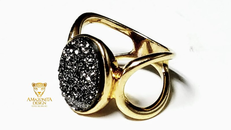 Anel Pedra Quartzo Geodo ou Drusa com Titânio Mini Exclusivo 15