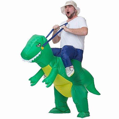 Fantasia Dinossauro Rex Verde Inflável Adulto