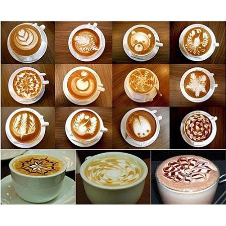 Conjunto 16 Moldes Decorativos Para Café / Cappuccino