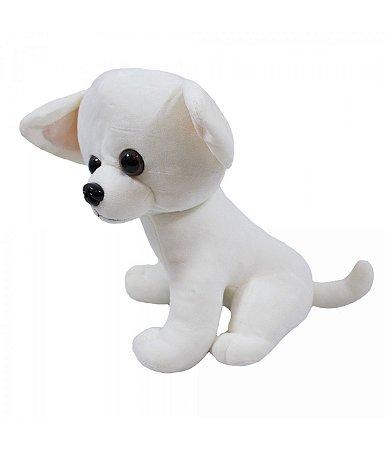 Pelúcia Cachorro Chihuahua Branco 22cm