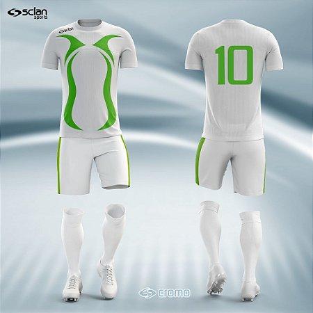 Jogo de Uniforme Futebol - Camisa, Short e Meião  Série Prata Mod. SS03