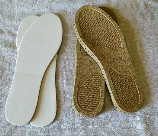 Kit de 15 pares de solados  perfurados e palmilhas Eva para crochê  ( para sapatilhas e calçados fechados )