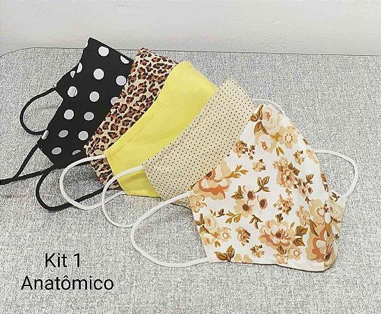 kit de 5 máscaras Anatômica em tecido tricoline duplo 100 % algodão feminino tamanho M