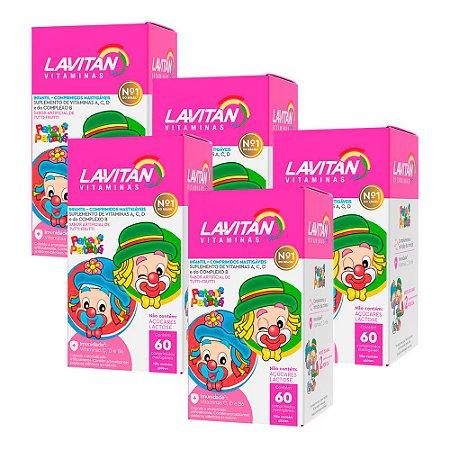 Lavitan Infantil - 5 unidades de 60 Comprimidos Mastigáveis - Cimed Tutti Frutti
