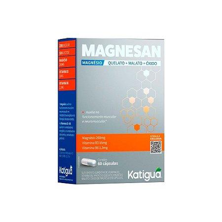 Magnesan Magnésio Katiguá Com Vitaminas B3 e B6 60 Cápsulas