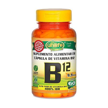Vitamina B12 Cianocobalamina 9,9mg Unilife 60 Cápsulas