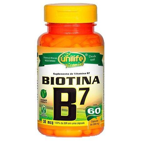 Vitamina B7 (Biotina) - 60 Cápsulas - Unilife