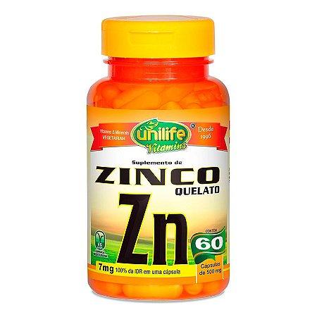 Zinco Quelato Unilife Concentrado Zn 500mg 60 Cápsulas