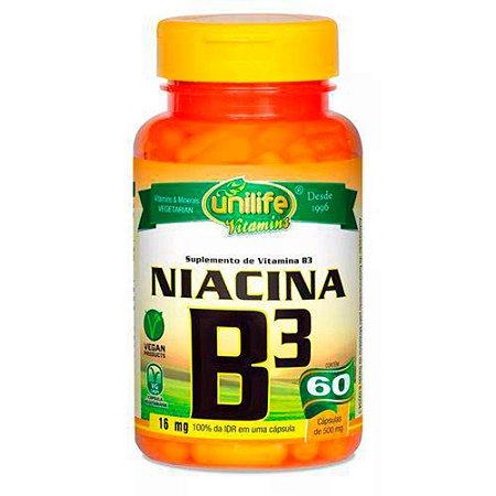Vitamina B3 Niacina 500mg Unilife Suplemento 60 Cápsulas