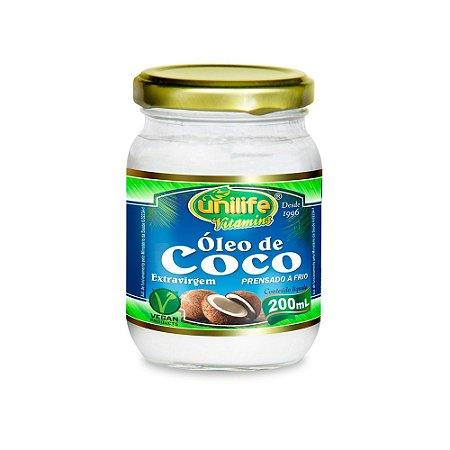 Óleo De Coco Extra Virgem Natural Vegano Unilife 200 ml