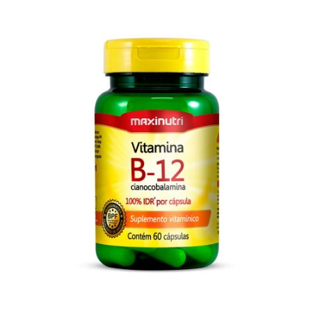 Vitamina B12 Cianocobalamina Maxinutri 60 Cápsulas