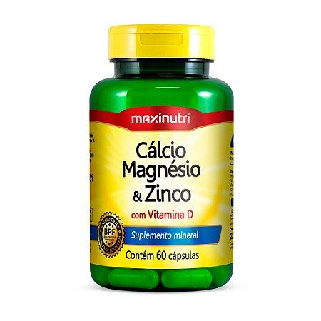 Cálcio, Magnésio e Zinco - 60 Cápsulas - Maxinutri