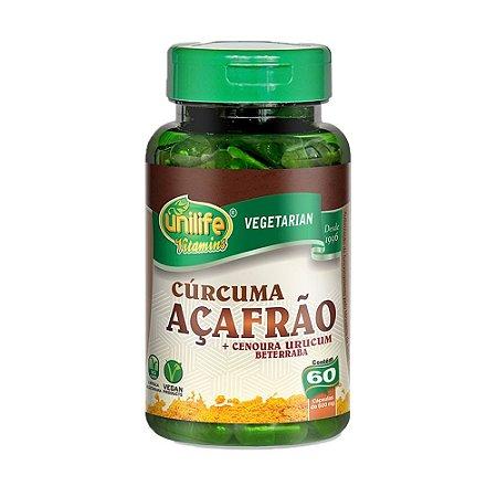 Cúrcuma Açafrão e Betacarotenos 60 Cápsulas Unilife