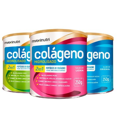 Kit Colágeno 2 em 1 - 3x 250 gramas - Maxinutri