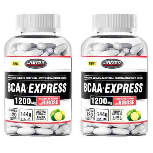 BCAA Express 1200mg - 2 unidades de 120 Tabletes - Lauton
