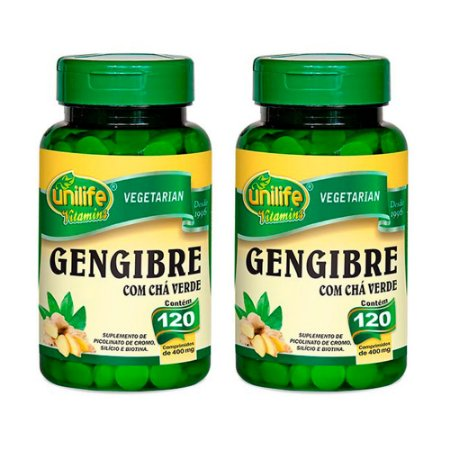 Kit Gengibre Com Chá Verde Unilife Suplemento 240 Comp