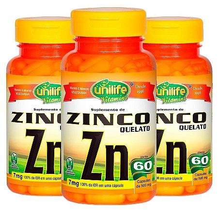 Zinco Quelato - 3 unidades de  60 Cápsulas - Unilife
