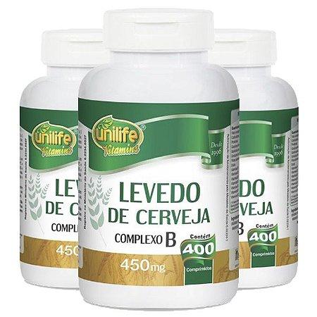 Levedo De Cerveja - 3 unidades de 400 Comprimidos - Unilife