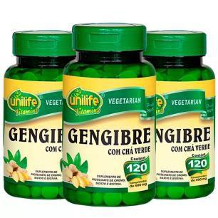 Gengibre com Chá Verde - 3 unidades de  120 Comprimidos - Unilife