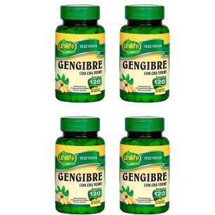 Gengibre com Chá Verde - 4 unidades de 120 Comprimidos - Unilife
