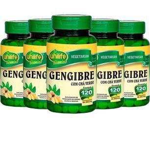 Gengibre com Chá Verde - 5 unidades de 120 Comprimidos - Unilife