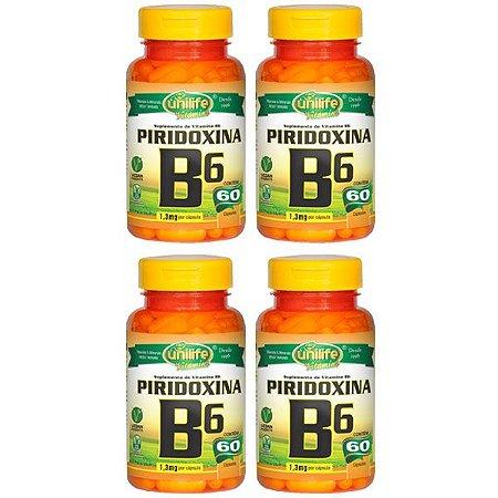 Vitamina B6 (Piridoxina) - 4 unidades de 60 Cápsulas - Unilife
