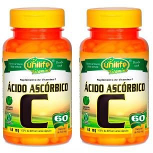 Vitamina C (Ácido Ascórbico) - 2x 60 Cápsulas - Unilife