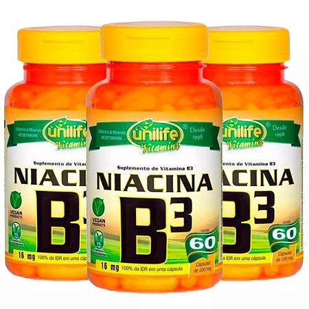 Vitamina B3 (Niacina) - 3x 60 Cápsulas - Unilife