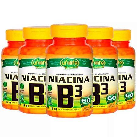 Vitamina B3 (Niacina) - 5x 60 Cápsulas - Unilife