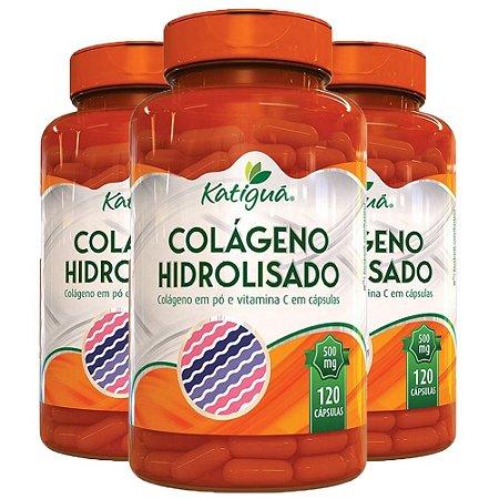 Colágeno Hidrolisado com Vitamina C - 3 unidades de 120 Cápsulas - Katigua