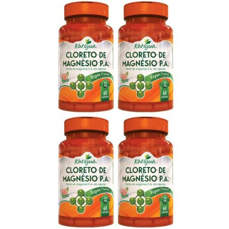 Cloreto de Magnésio P.A. - 4 unidades de 60 cápsulas - Katigua