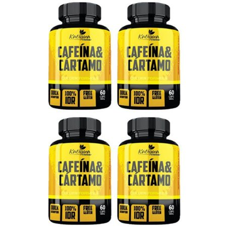 Cafeína e Cártamo - 4 unidades de 60 Cápsulas - Katigua Sport