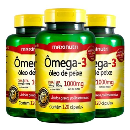 Ômega 3 - 3x 120 cápsulas - Maxinutri