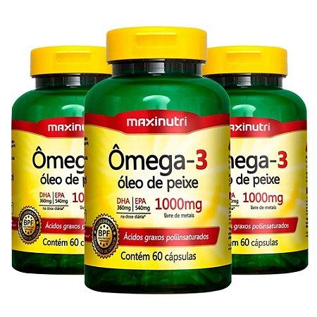 Ômega 3 - 3 unidades de 60 Cápsulas - Maxinutri