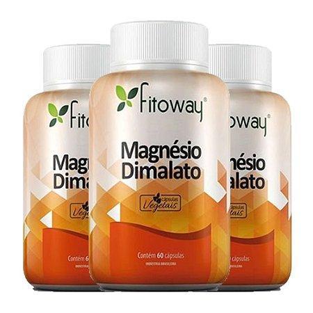 Magnésio Dimalato - 3 unidades de 60 Cápsulas - Fitoway