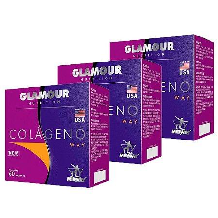 Colágeno Glamour Nutrition - 3 unidades de 60 Cápsulas - Midway