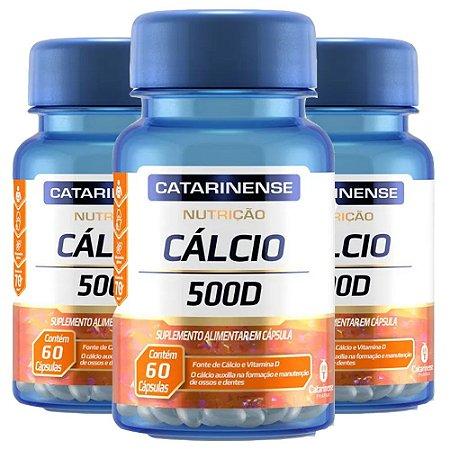 Cálcio 500 D - 3 unidades de 60 cápsulas - Catarinense