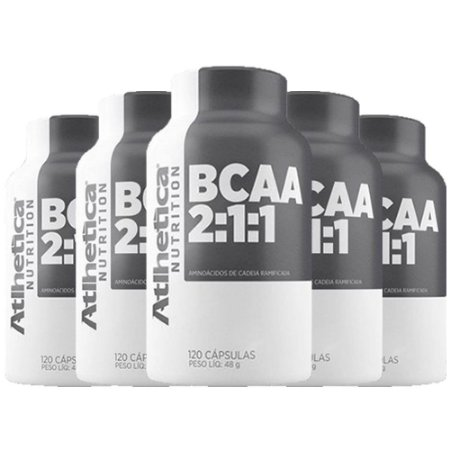 BCAA - 5 unidades de 60 Cápsulas - Atlhetica