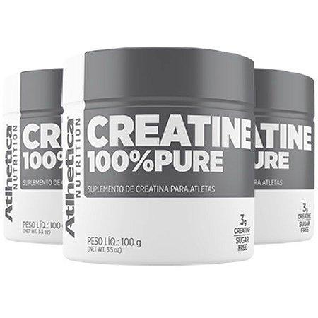 Creatina 100% Pure - 3 unidades de 100 Gramas - Atlhetica
