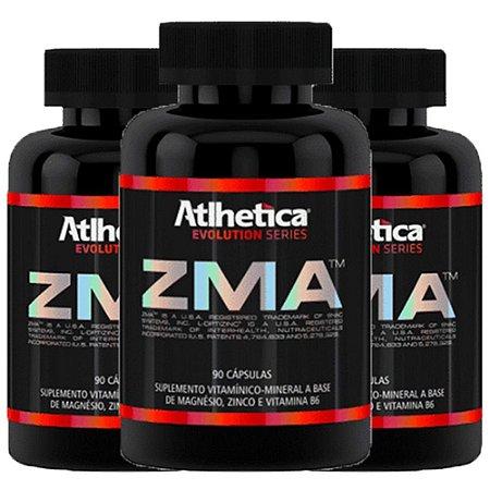 ZMA (Zinco, Magnésio e Vitamina B6) – 3 unidades de 90 cápsulas - Atlhetica