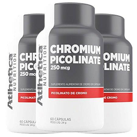 Chromium Picolinate Cromo 250mcg - 3 unidades de 60 Cápsulas - Atlhetica
