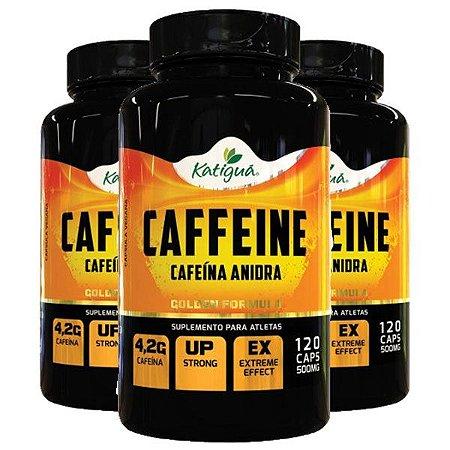 Caffeine (Cafeína Anidra) - 3 unidades de 120 Cápsulas - Katigua Sport
