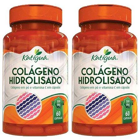 Colágeno Hidrolisado com Vitamina C - 2 unidades de 60 Cápsulas - Katigua