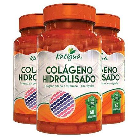 Colágeno Hidrolisado com Vitamina C - 3 unidades de 60 Cápsulas - Katigua