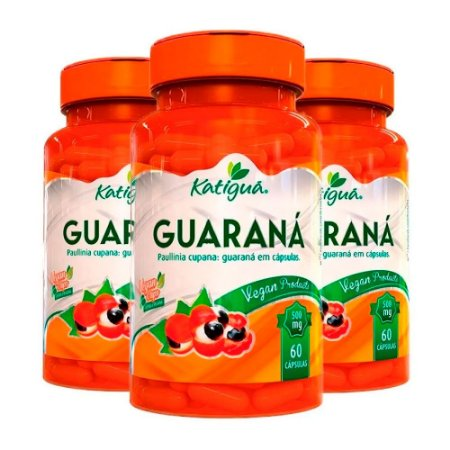 Kit Guaraná Suplemento Energizante Katigua 180 Cápsulas