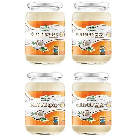 Óleo de Coco Extra virgem - 4 unidades de 200 ml - Katigua