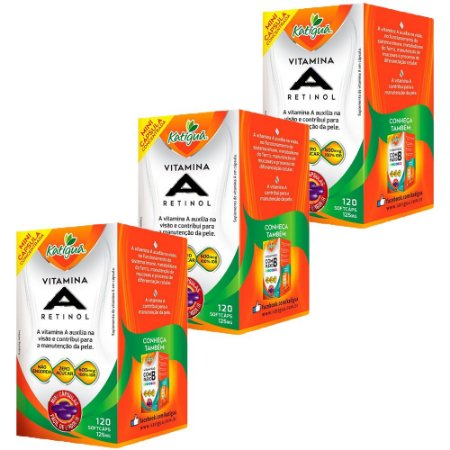 Vitamina A Retinol - 3 unidades de 120 Cápsulas - Katigua