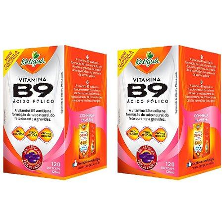 Vitamina B9 Ácido Fólico - 2 unidades de 120 Cápsulas - Katigua